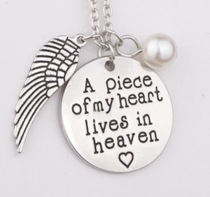 A piece of my heart lives in heaven Hand Stamped Remembrance Miscarriage Memorial Pendant Necklace Gift Jewelry for women(China)