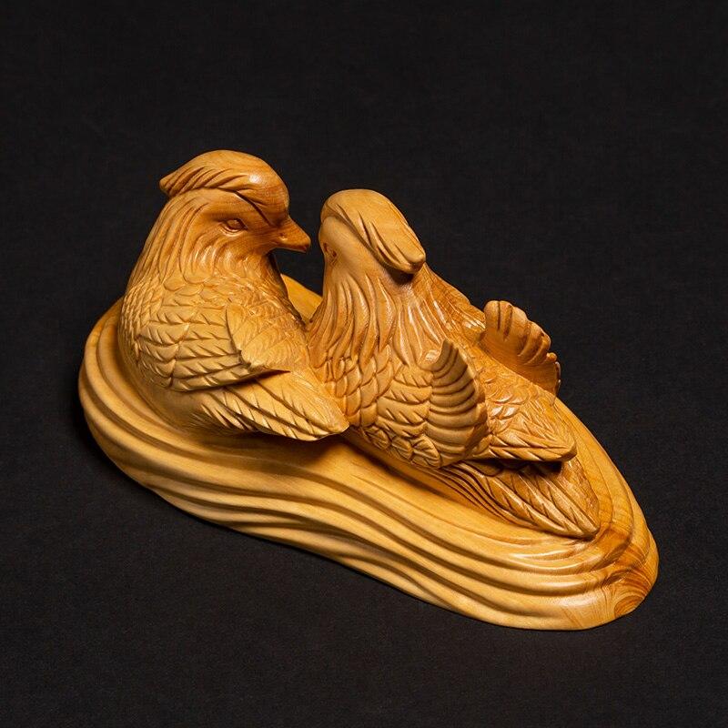 Une paire d'oiseaux de mariage cadeaux oiseau sculpté chambre Feng Shui décoration de vie, artisanat folklorique - 4