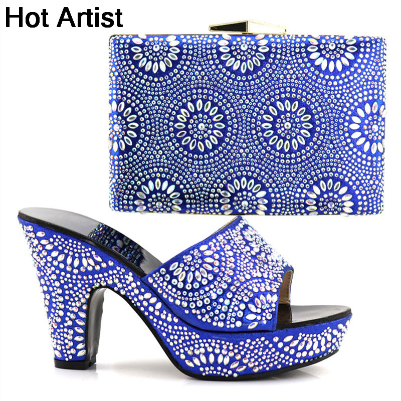 Hot Artist Italian Rhinestone Blue Shoes With Matching Bags Set 2018 African Women Pumps Shoes And Bag Set For Party YK-098 african fashion shoes with matching bag set for wedding party italian design nigeria women pumps shoes and bags mm1060