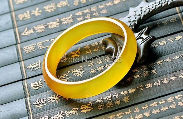Wonderful Natural Genuine Yellow Agate Lucky Woman's Bracelet Bangle Fashion Jade Bangles Jewelry 56-62mm