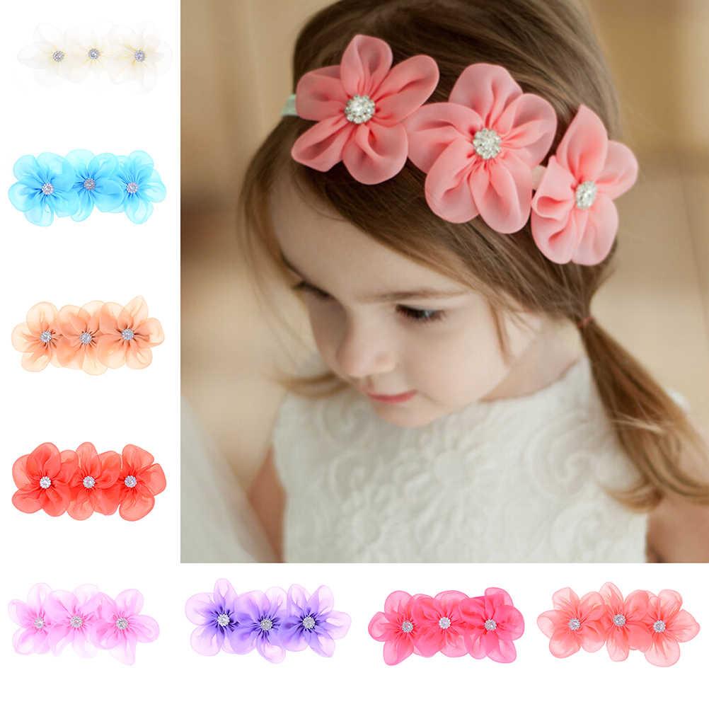 8 Цвета, украшенное 3 цветами, повязка на голову, Детские аксессуары для волос для девочки с ленточками и жемчугом, полоска на голову с бриллиантами ободки для новорожденных для шитья