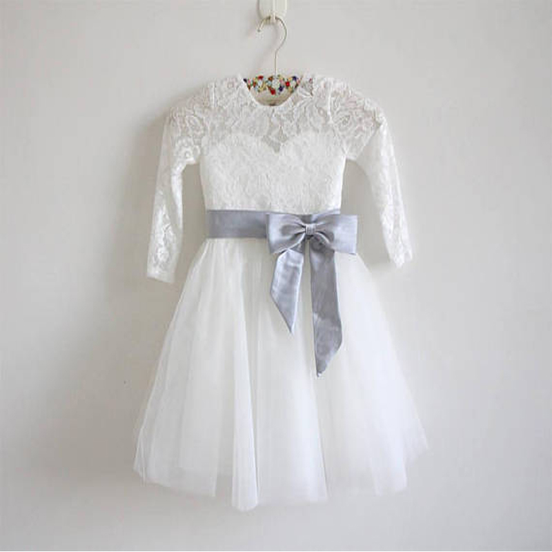 Long Sleeve Flower Girls Dresses for Wedding White Girls A-Line Lace vestido longo Long Mother Daughter Dresses For Girls trendy see through off the shoulder long sleeve lace blouse for women