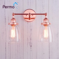 Permo Modern Vintage Twin Wall Light Sconce 2 X 5.6'' Glass Shades Retro Wall Lamp Antique Brass Finish for bedroom dinning bar