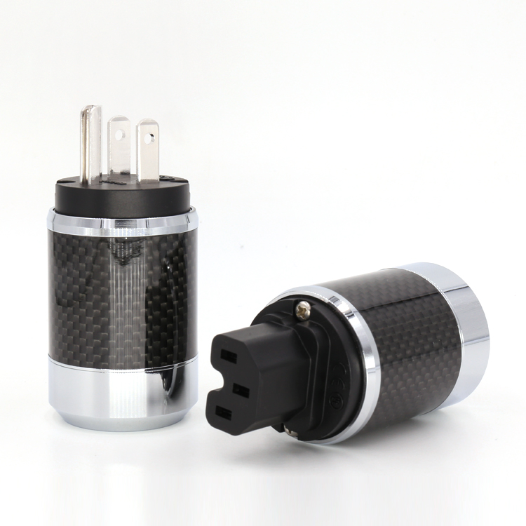 Free shipping one viborg pure copper Rhodium Plated US Power Cord Plug Carbon fiber US AC power plug male and female free shipping one pair rhodium plated us mains power plug carbon fiber connector cable cord