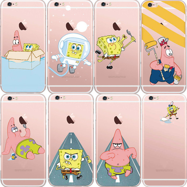 reputable site 0ff09 f851a US $2.99 |Ultra Thin SpongeBob Case Coque for iPhone 5S 6 6Plus 7 7Plus  Clear Cartoon SpongeBob Patrick Star Soft TPU Back Cover Funda Gel on ...