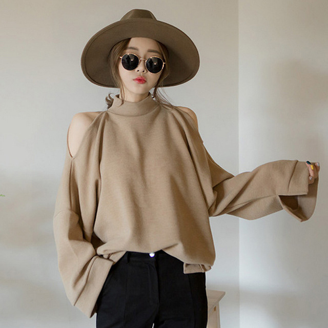 Women 's 2016 Autumn New High Collar Hollow Strapless T Shirt Long - Sleeved Shirt Tops Female