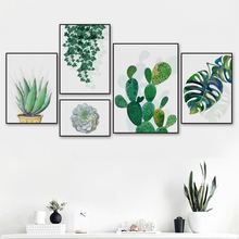 Green Plants Cactus Monstera Succulents Wall Art Canvas Painting Nordic Posters And Prints Pictures For Living Room Decor