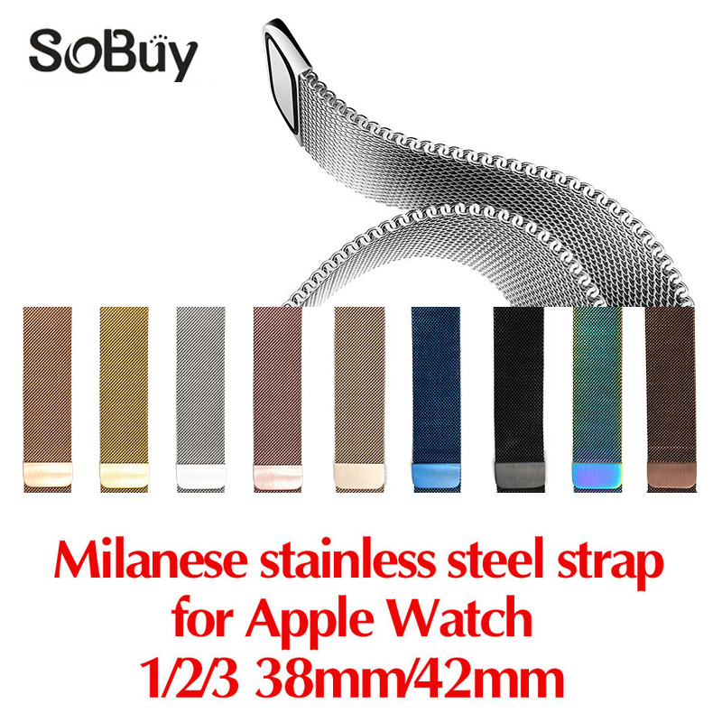 So buy for apple watch iwatch 1/2/3 series stainless steel bracelet 42mm Milan loop wristband 38mm band magnetic Milanese strap
