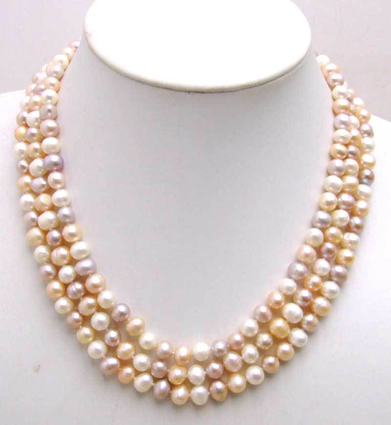 SALE 9-10mm Multicolor(White,Pink,Purple) 100% natural Freshwater PEARL 3 STRANDS Necklace-ne5190 Wholesale/retail Free shipping цена