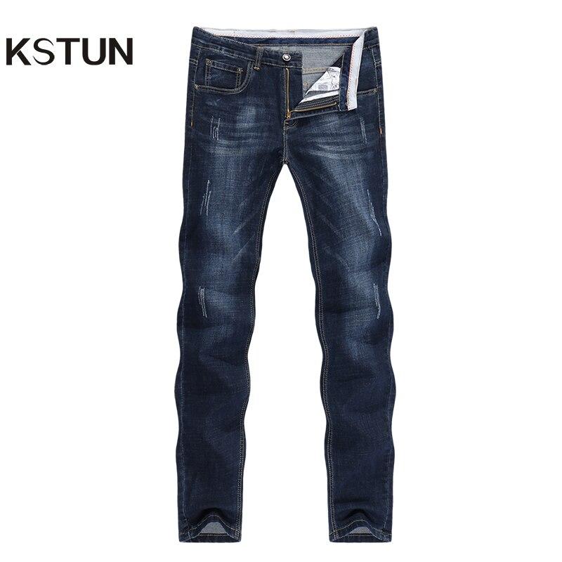 KSTUN Men's Jeans 2020 Summer Denim Pants Slim Straight Dark Blue Regular Fit Leisure Long Trousers Famous Brand Jean Men Hombre