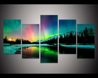 5 Piece Canvas Art Colorful Aurora Borealis Painting Decoration For Home Wall Art On Canvas Living