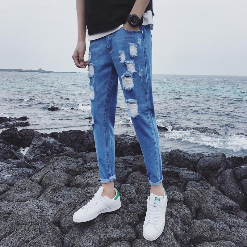 summer Newly Blue Wash Bound Feet Nine Part mens man skinny hip hop mens fashion Jeans big size Time limited