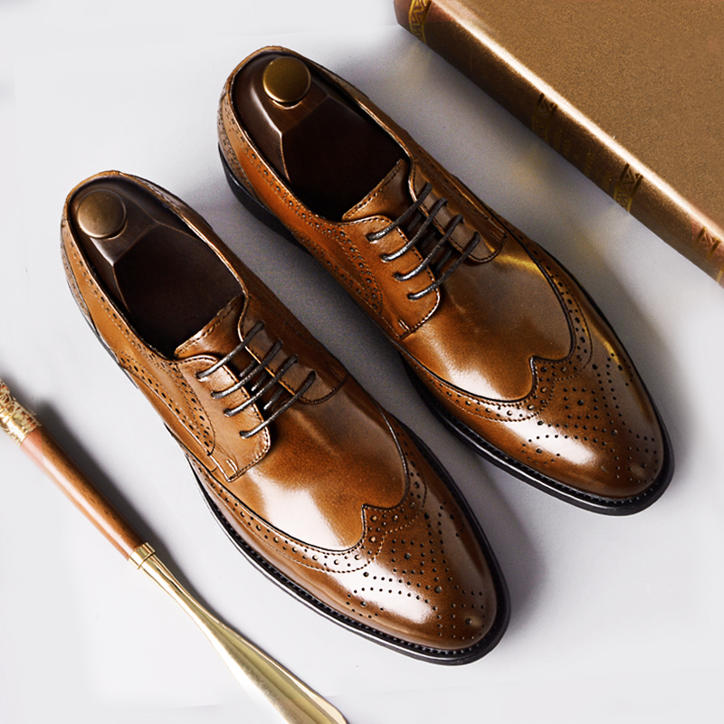 Phenkang mens formal shoes genuine leather oxford shoes for men black 2019 dress shoes wedding shoes