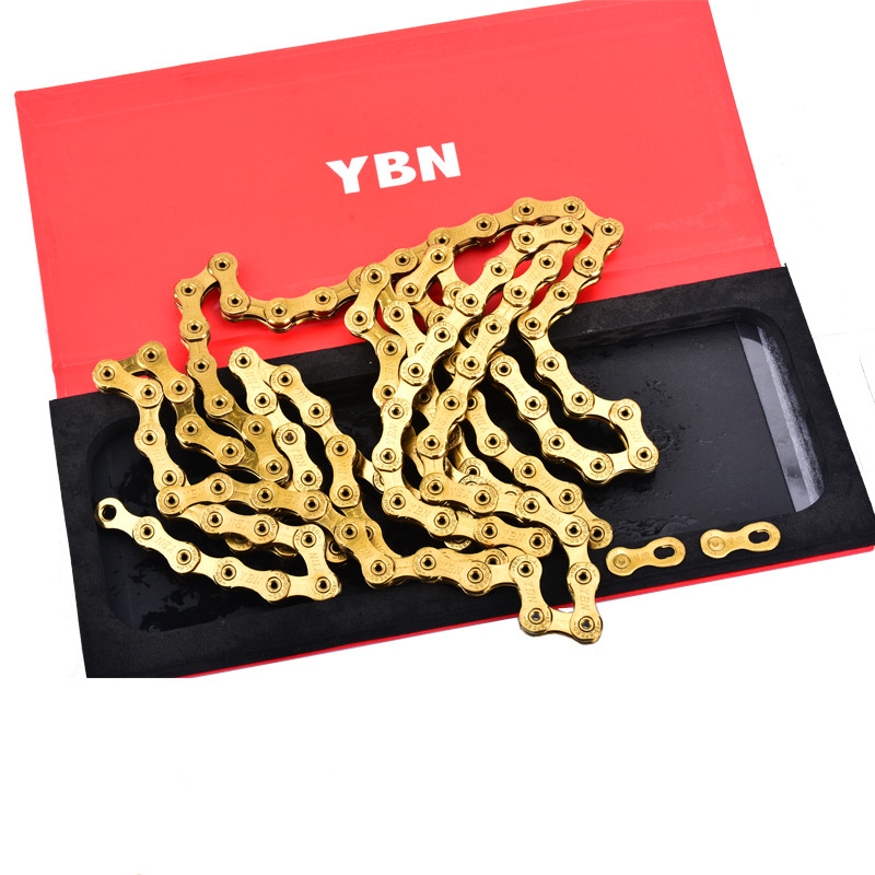 Taiwan YBN SLA Mtb Bike Chain 12 Speed 126 Links For SRAM SRAM XX1 GX12 Eagle Bike Golden Chain Bike Accessory 7075t6 cnc mtb chain ring 110pcd 40 42 44 46 48t mtb bike bicycle crank chainring tooth disc chain ring cr e1 dx5800 110
