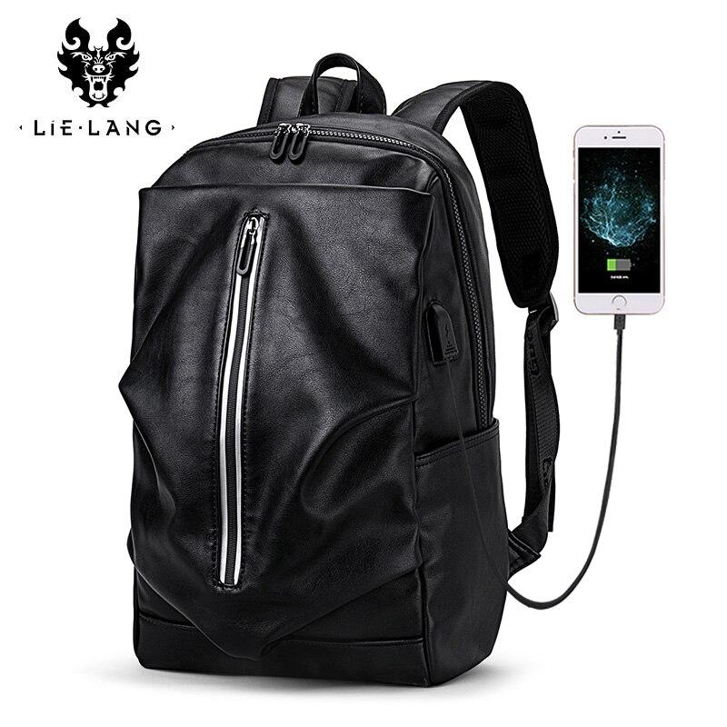 LIELANG hommes sac à dos USB Charge Simple haute qualité en cuir sac à dos homme mode tendance jeunesse loisirs voyage ordinateur sac