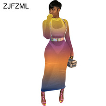 Rainbow Gradient Color Plus Size Dress Women Mesh Spliced Hollow Out Bodycon Party Dress Summer Long Sleeve Perspective Dresses