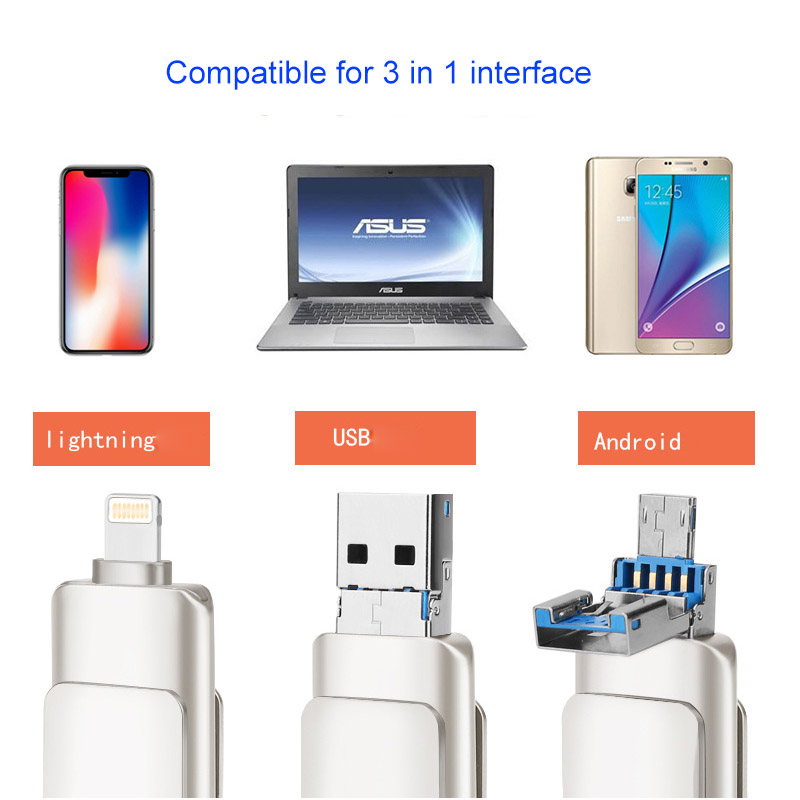 3 in 1 USB 3.0 Pen Drive OTG Lightning 64GB USB Flash Drive 32GB Pendrive 16GB For iPhone 360 Degree Rotating U Stick Memory