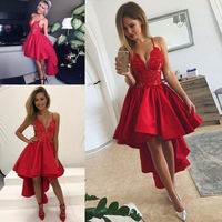 Красный Высокая Низкая арабский коктейльные платья 2019 Сексуальная Спагетти Кружева сатиновое бальное платье оборками недорогое короткое