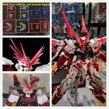 Um modelo vermelho dragão chifre efeitos modificado peças para bandai rg 1/144 mg 1/100 pg 1/60 desviado vermelho & azul quadro gundam dk002