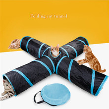 4 Holes House Foldable Pet Tunnel Cat Play Tent Nest Toys Kitten Cat Funny Toy Bulk Cat Toy Rabbit Play Tunnel With Ball For Cat(China)