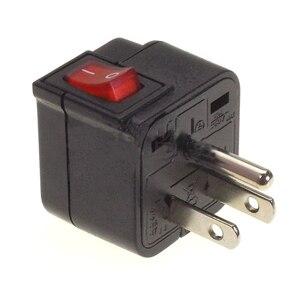 Image 3 - Ab abd İngiltere AU evrensel priz dönüştürücü seyahat adaptörü ile LED ana şalter dönüştürmek dünya tak siyah