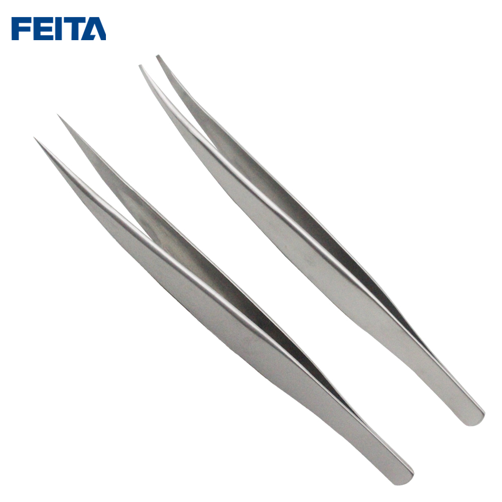 FEITA 2PCS Stainless Steel Tweezers Precision Set for Eyebrow Plucking,Eyelash Extension,False Lash, Eyebrows Tweezer Applicator