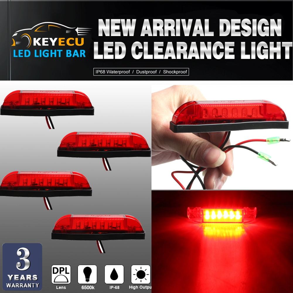 KEYECU 4PCS Red LED Strip Light Maker Light 4 Great Utility Light Indoor & Outdoor Lighting universal use on any application
