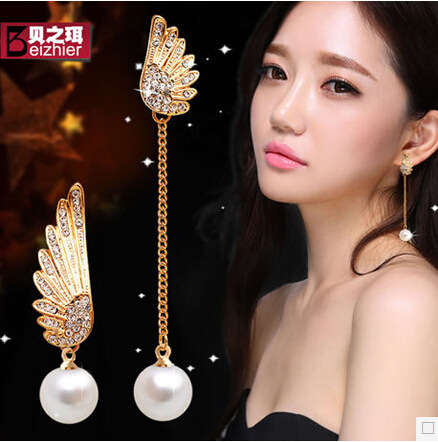 New Angel Wings Long pearl Stud Earrings b11 e367 ABC