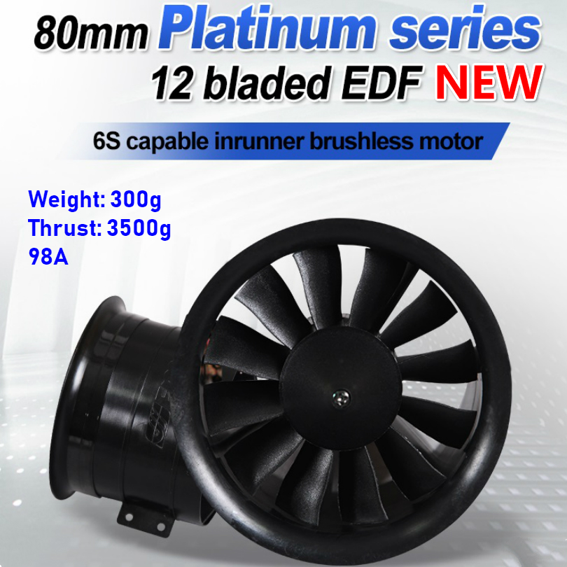 FMS 80mm Ducted Fan EDF Jet 12 Blades With 3280 KV2100 Motor 6S V2 RC Airplane Aircraft Plane Engine Power System 3500g ThrustFMS 80mm Ducted Fan EDF Jet 12 Blades With 3280 KV2100 Motor 6S V2 RC Airplane Aircraft Plane Engine Power System 3500g Thrust