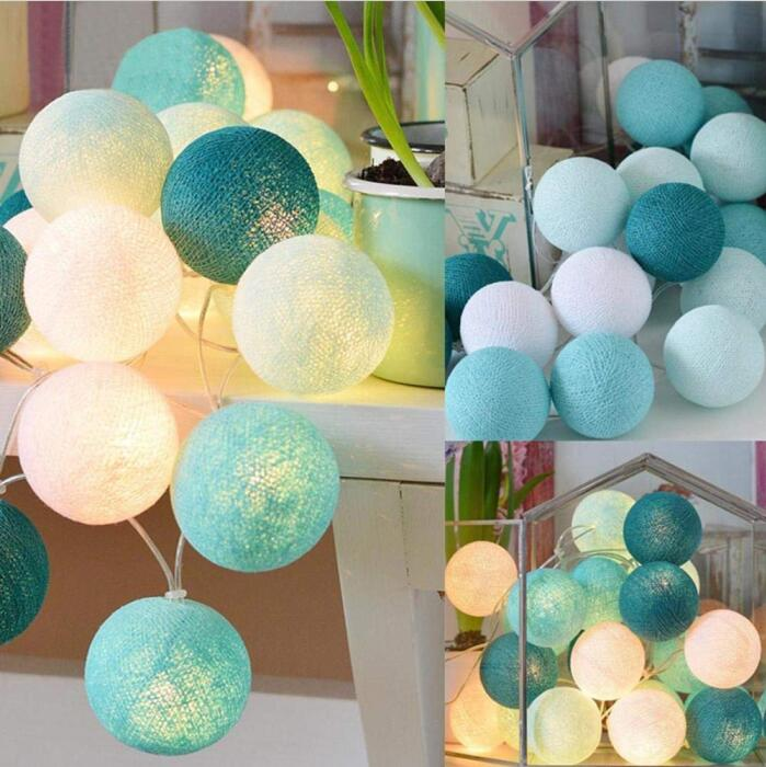 Decoration Maison 3M 20 LEDs Cotton Ball String Lights Indoor Christmas Decoration for Home Party Wedding Xmas LED Fairy Lights