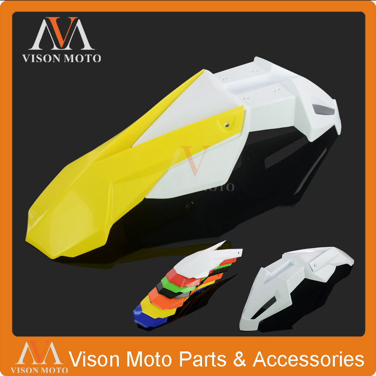 Yellow+White Front Fender Mudguard For Suzuki RM85 RM125 RM250 RMZ250 RMZ450 RMX250 DR250 Motocross Supermoto Motorcycle cnc front brake line hose clamps holder for suzuki rm85 rm125 rm250 rmz250 rmz450 rmx450z drz400sm motorcycle