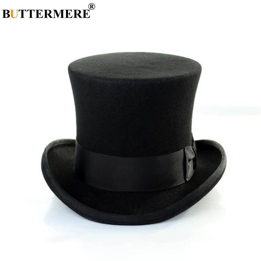 BUTTERMERE Fedora Hat Men Top Hat Black Women Wool Magician Hat Sherlock British Style Solid Brand High Quality Cap 18cm trendy cotton fedora hat cap black