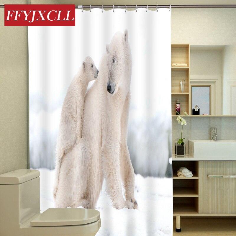 Us 17 69 41 Off Polar Bear Tiger Lion Swan Animal Printing Design Waterproof Polyester Fabric Shower Curtain Eco Friendly Bathroom Curtain In Shower