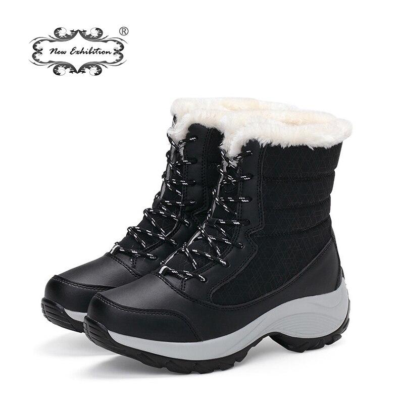 Nouvelle exposition femmes bottes haute coupe hiver garder au chaud bottes de neige plate-forme cheville imperméable femmes chaussures avec des talons de fourrure épaisse 35-41