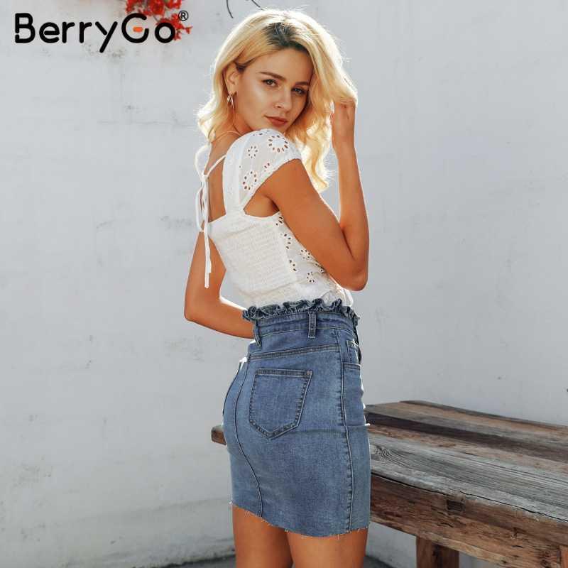 BerryGo אלגנטי לפרוע ג 'ינס חצאית נשים קיץ קו bodycon נקבה מיני חצאית מקרית streetwear אופנה כחול ג' ינס חצאית 2019