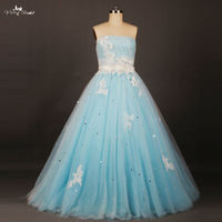 RSE658 Lange Puffy Wit Bloemen En Licht Baby Blauw Prinses Prom Dresses 2016