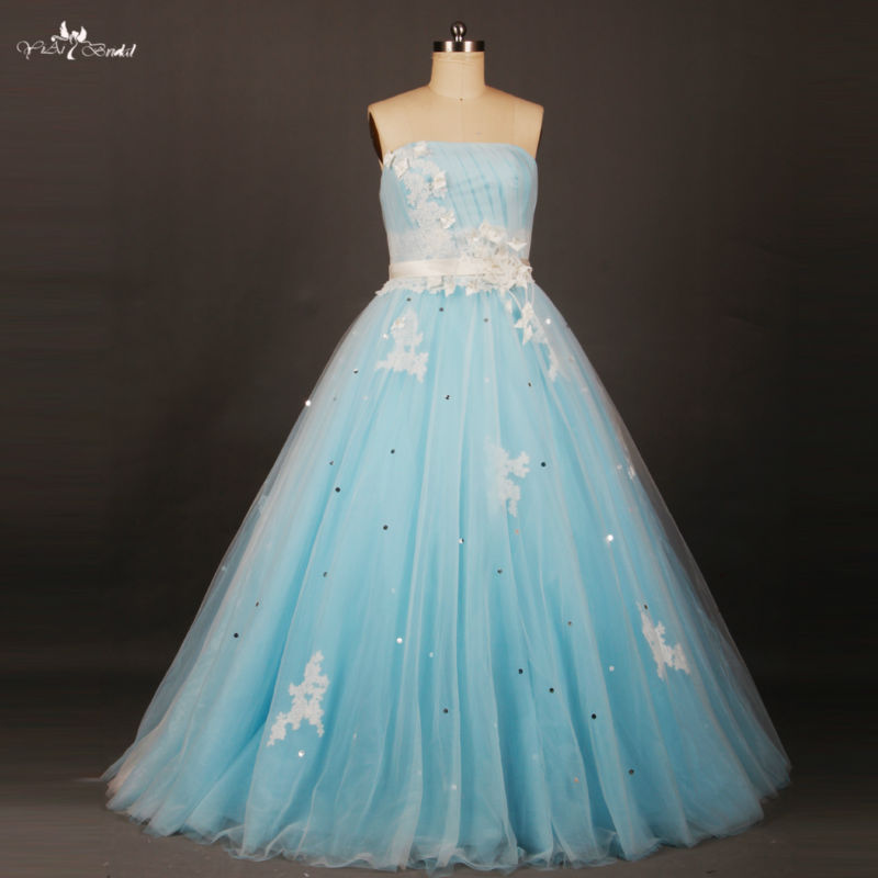 Rse658 long puffy white floral and light baby blue for Light blue and white wedding dresses