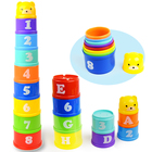 8PCS Educational Baby Toys 6Month+ Figures Letters Foldind Stack Cup Tower Children Early Intelligence WJ487