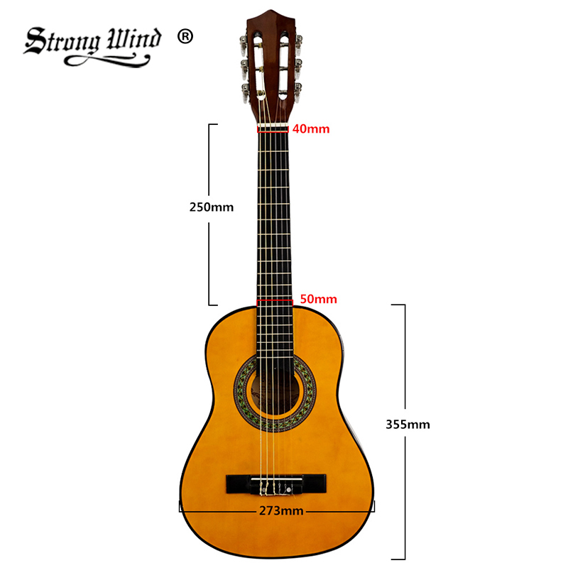 1/4 Size 30 Inch Classical Acoustic Guitar 6 Nylon Strings Basswood Closed Knob Guitarra Beginner Folk Gitaar Kids with Full Kit
