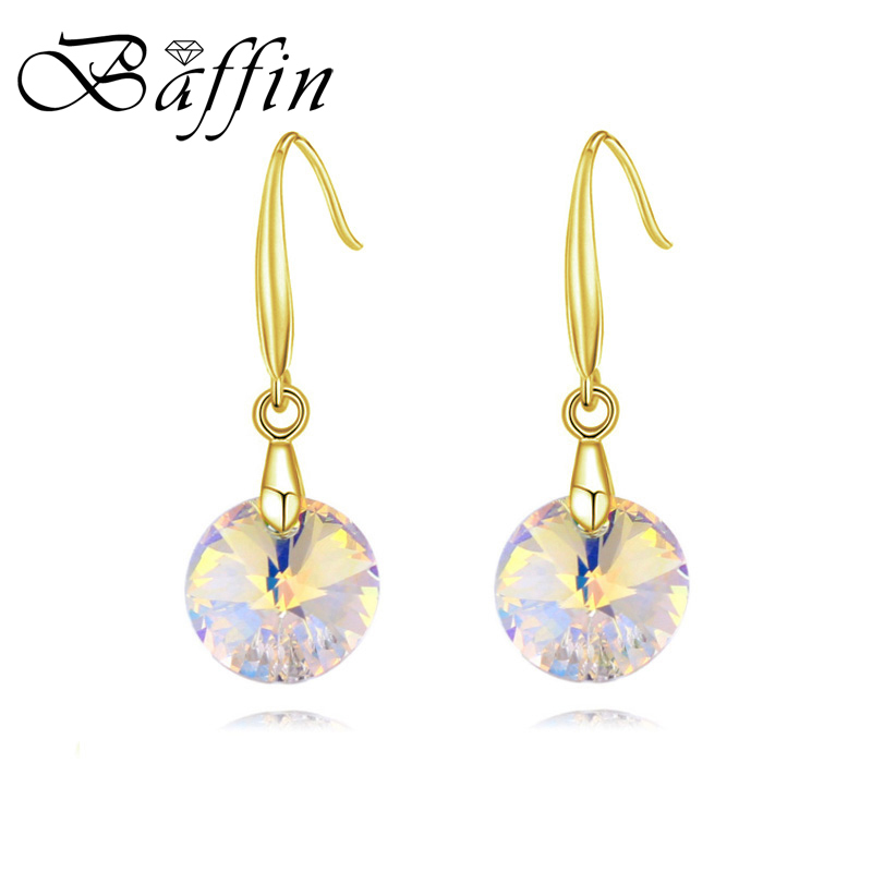 BAFFIN Simple Round Crystal Drop Earrings Made with ...
