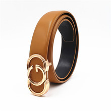 Fashion Real Leather for Women Men Smooth Buckle Belts Popular Cowskin Strap Lux