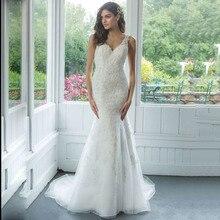 Vestido de Noiva сексуальное свадебное платье с v образным вырезом Русалка С Открытой Спиной Кружевные Аппликации Свадебные платья для женщин на заказ платье невесты