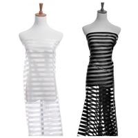 Stripe Sheer Organza Fabric Silk Satin Party Bridal Wedding Dress Craft 150cm 100cm 038 584 B