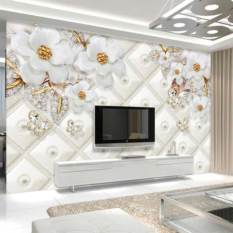 Custom 3D Photo Wallpaper Embossed White Jewelry Flower Living Room TV Background Wall Home Decor Mural Wallpaper For Walls 3 D