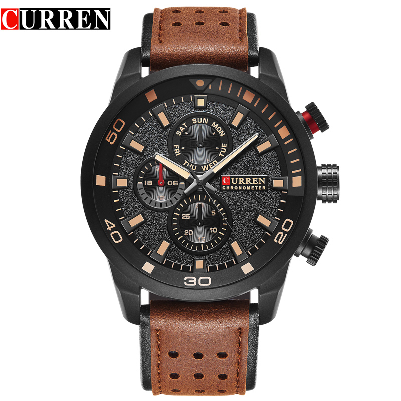 CURREN brand top new fashion casual quartz wrist watch men leather relojes leather strap round Quartz