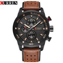 CURREN marque haut nouveau mode casual quartz montre-bracelet hommes en cuir montres bracelet en cuir rond Quartz Résistant À L'eau 30 m 8250