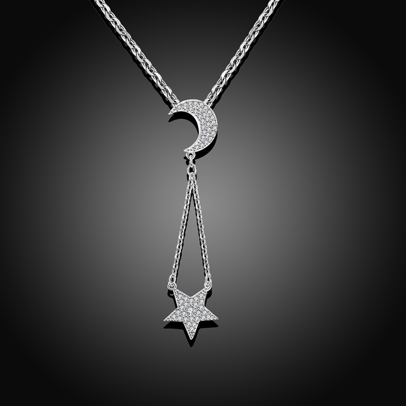 ROXI Vacation Fashion Necklace White Gold Color Zircon Star Moon Wedding Party Jewelry Pendant Statement Long Necklace