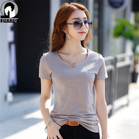 Womens Brand Clothing Summer New Women T Shirt Short Sleeve V Neck Casual Cotton Solid Color