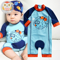 Baby swimwear sunscreen one piece cartoon baby infant boys bathing suit kids beachwear child baby swimsuit for diving surfing