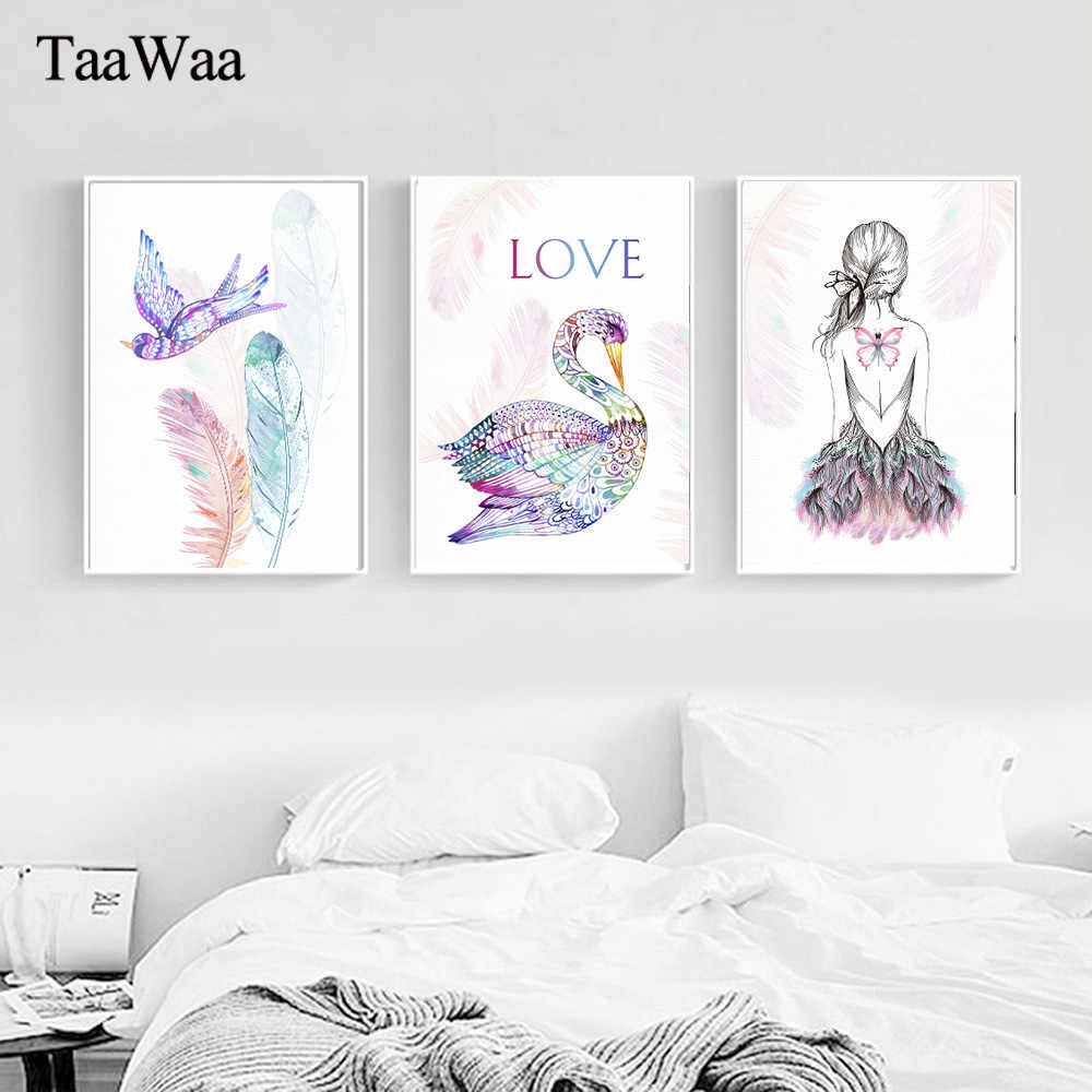 Flamingo Feather Posters Love Wall Art Canvas Prints Bird Nordic Abstract Painting Butterfly Girl Decorative Picture for Bedroom